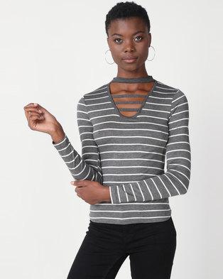 Utopia Stripe Choker Knit Top Grey/White
