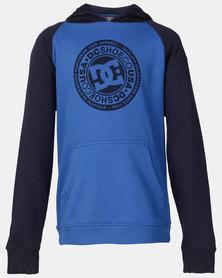 DC Boys Circle Star Pullover Hoodie Black Iris/ Nautical Blue