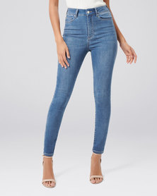 Forever New Cleo High Rise Ankle Grazer Jeans Budapest Blue