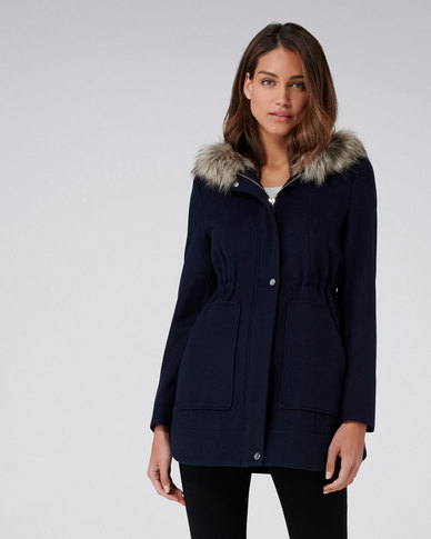 Forever New Sara Duffle Coat Jacket Navy