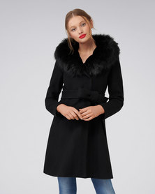 Forever New Josephine Fur Lined Coat Black