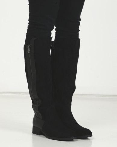 LaMara Knee High Side Zip Boots Black