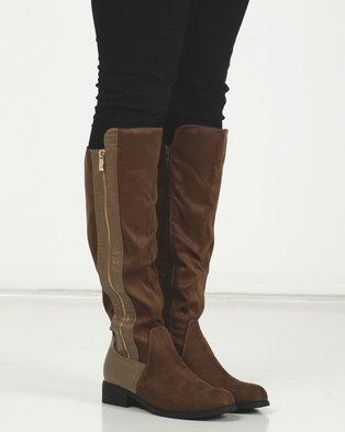 LaMara Knee High Side Zip Boots Green