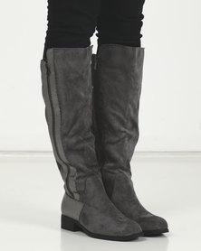 LaMara Knee High Side Zip Boots Grey