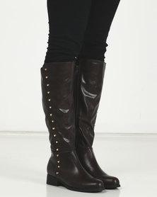LaMara Long Studded Boots Brown