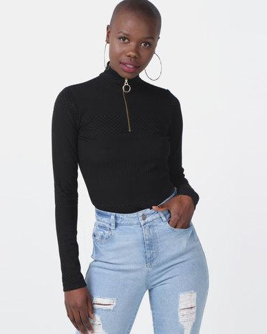 Sissy Boy Ring Detail Zip Turtleneck Top Black