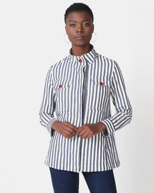 Jenja Laundered Swing Parker Jacket Navy Stripe