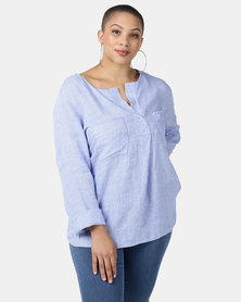Jenja Half Placket Top With Long Sleeves Blue Check