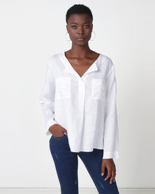 Jenja Half Placket Top With Long Sleeves Winter White