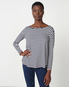 Jenja Crepe Knit Swing Top Blue Stripe Melange