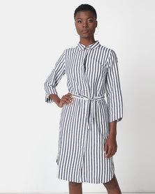 Jenja Shirt Dress With Tie Belt Navy Stripe