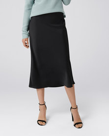 Forever New Bobbie Satin Slip Skirt Black