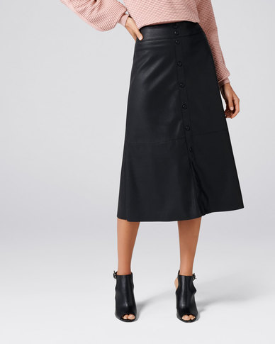 Forever New Abbie A Line PU Button Down Skirt Black