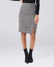 Forever New Luca Boucle Wrap Pencil Skirt Black Boucle