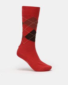 Falke Argyle Socks Cardinal Red