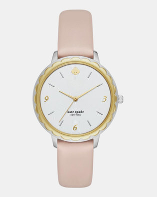 KATE SPADE New York Morningside Three-Hand Scallop Leather Watch Pale Vellum