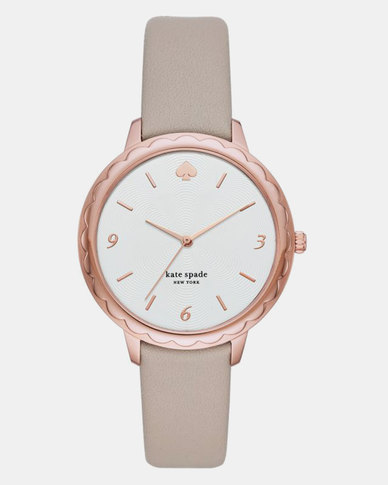 Kate Spade New York Morningside Three Hand Scallop Leather Watch Taupe