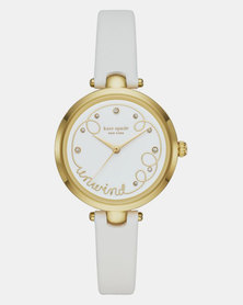 KATE SPADE New York Morningside Three-Hand Scallop Leather Watch Taupe