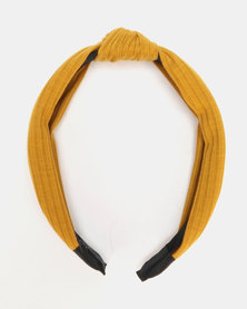 Black Lemon Knotted Alice Band Mustard