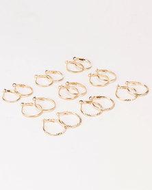 Black Lemon Multi Hoop Pack Earrings Gold