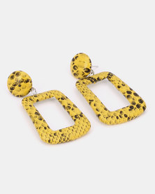 Black Lemon Acid Snake Drop Earrings Yellow