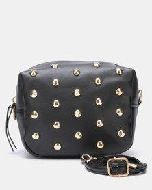 Black Lemon Studded Crossbody Bag Black