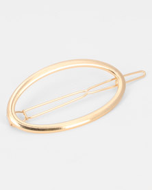 Black Lemon Oval Hairclip Gold