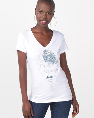 4a5e7bee Jeep Glitter Print V-Neck Tee White
