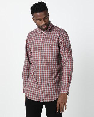 Jeep Long Sleeve Check Cotton Shirt Terracotta