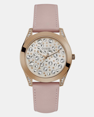 Guess Womens Watch Wunderlust Rose-Gold with Multi Crystal & Pink