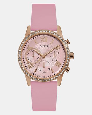 Guess Womens Watch Solar Dial Silicone Strap Pink