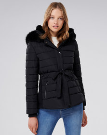 Forever New Autumn Synched Puffa Black