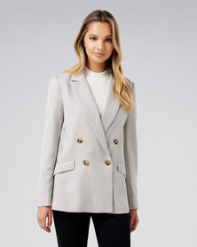 Forever New Millie Wool Blazer Houndstooth