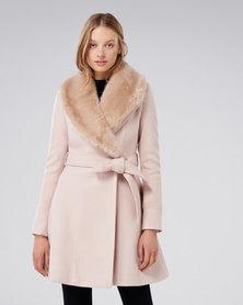 Forever New Emilia Skirt Coat Oatmeal