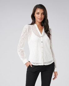 Forever New Allysia Lace Shirt Porcelain