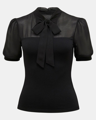 Forever New Melody Tie Neck PM Top Black