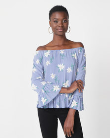 Paige Smith Frill Stripe Top Blue