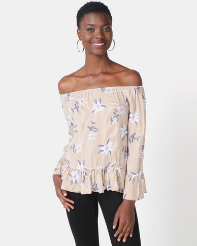 Paige Smith Frill Stripe Top Taupe