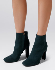 Forever New Cameron Thin Block Heel Boot Teal