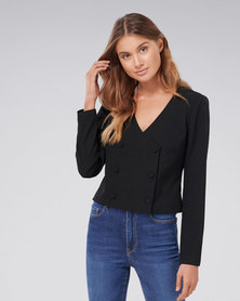 Forever New Ivy Double Breasted Blouse Black