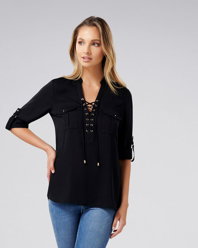 Forever New Lola Lace Up Tunic Black