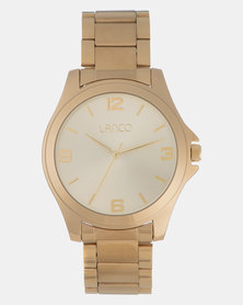 Lanco Gents Sunray Champ Dial IPG Shiny Gold  Band Watch Gold-plated