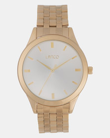 Lanco Gents Sunray Gold Metal Band Watch Gold-plated