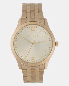 Lanco Gents Watch Light Gold Dial IPG Band Gold-plated