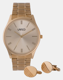Lanco Gents Watch Sunray Dial Gold Band and Cufflings Gold