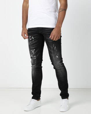 fe6d5ffd Cutty Awesome Ignite Rip and Repair Slim Jeans Black