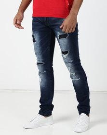 a391df5fe5216b Cutty Awesome Tiger Rip and Repair Slim Jeans Indigo