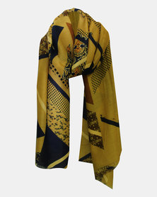 Thatch and Navy printed Warm Handle Scarf