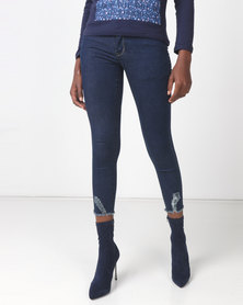 Soviet Shara High Waisted Boot-I-Ful Frayed Hem Skinny Jean Dark Indigo