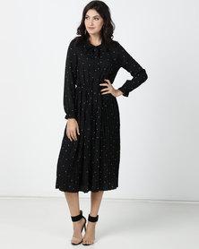 Utopia Chiffon Polka Dot Pleated Shirt Dress Black